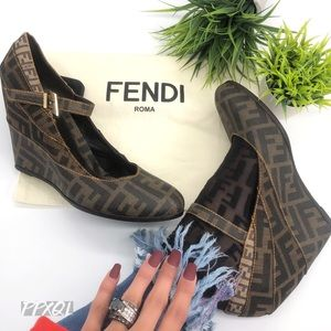 Fendi Authentic Vintage Zucca FF Mary Jane Wedges
